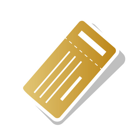 Ticket simple sign. Golden gradient icon with white contour.