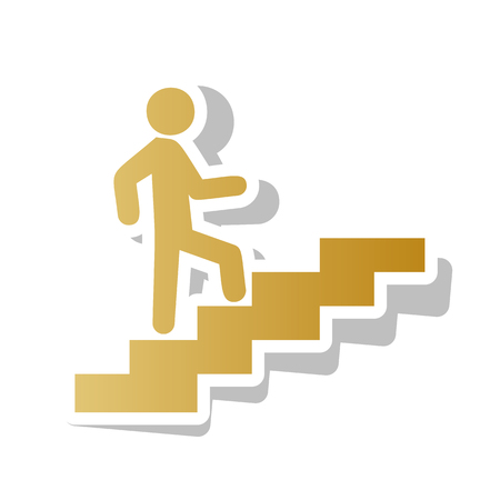 Man on Stairs going up. Golden gradient icon with white contour.