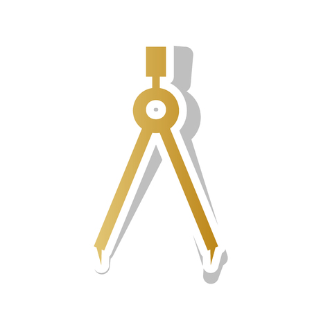 Divider simple sign. Vector. Golden gradient icon with white con