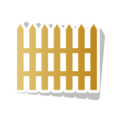 Fence simple sign. Vector. Golden gradient icon with white contour and rotated gray shadow at white background.