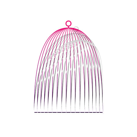Bird cage sign. Vector. Detachable paper with shadow at underlying layer with magenta-violet background. Illustration