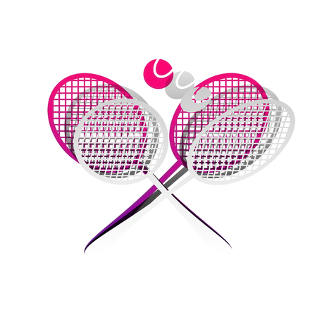 Two tennis racket with ball sign. Vector. Detachable paper