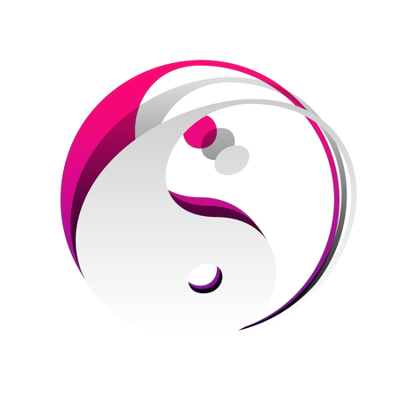 Ying yang symbol of harmony and balance. Vector. Detachable paper with shadow at underlying layer with magenta-violet background. Illustration