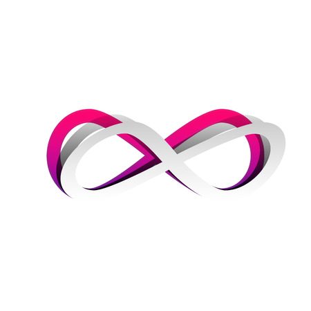 Limitless symbol illustration. Vector. Detachable paper with shadow at underlying layer with magenta-violet background. Illustration