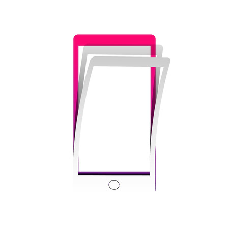 Abstract style modern gadget with blank screen. Template for any content. Vector. Detachable paper with shadow at underlying layer with magenta-violet background.