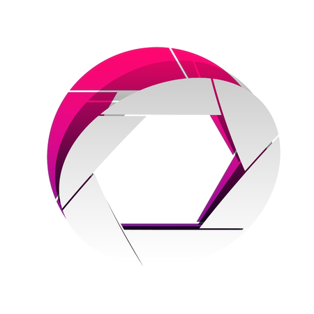 Photo sign illustration. Vector. Detachable paper with shadow at underlying layer with magenta-violet background.