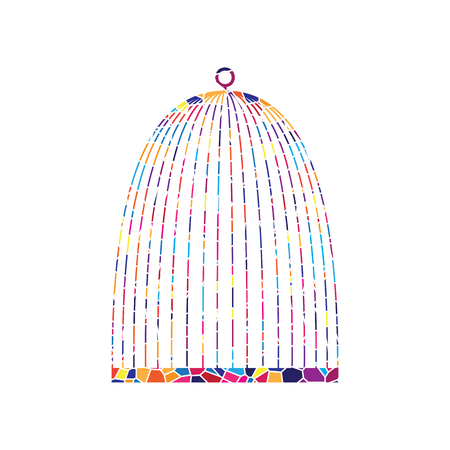 Bird cage sign. Vector. Stained glass icon on white background. Colorful polygons. Isolated. Ilustração