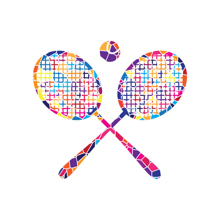 Two tennis racket with ball sign. Vector. Stained glass icon on white background. Colorful polygons. Isolated.