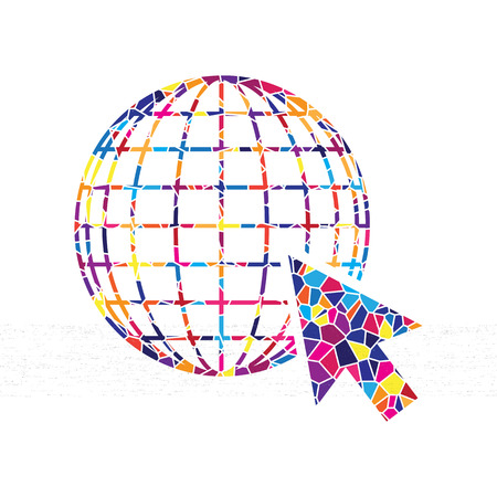 Earth Globe with cursor. Vector. Stained glass icon on white background. Colorful polygons. Isolated.