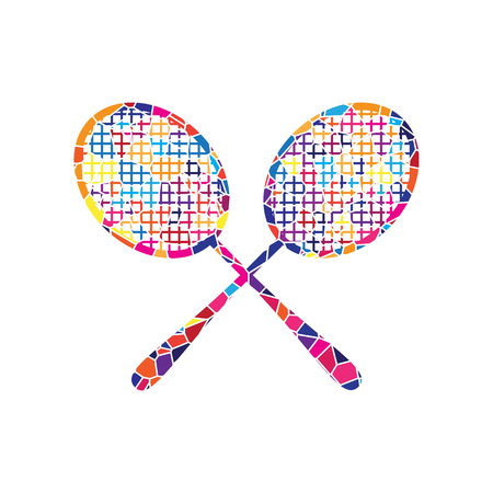 Two tennis racket sign. Vector. Stained glass icon on white background. Colorful polygons. Isolated.