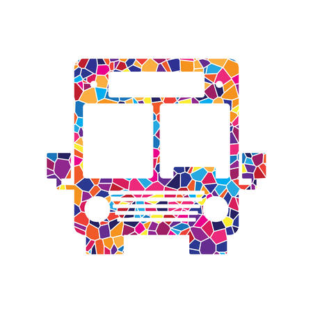 Bus sign illustration. Vector. Stained glass icon on white background. Colorful polygons. Isolated.