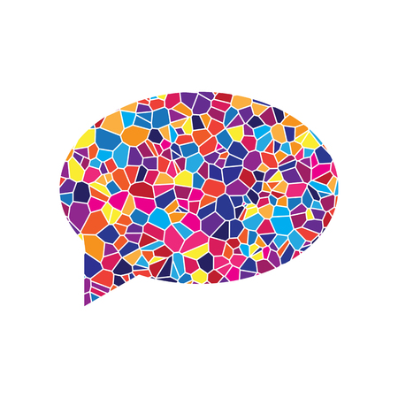 Speech bubble icon. Vector. Stained glass icon on white background. Colorful polygons. Isolated.
