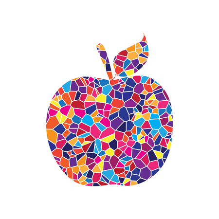 Apple sign illustration. Vector. Stained glass icon on white background. Colorful polygons. Isolated.
