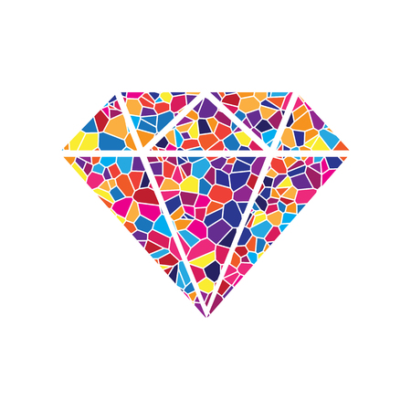 Diamond sign illustration. Vector. Stained glass icon on white background. Colorful polygons. Isolated.