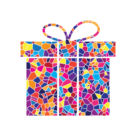 Gift box sign. Vector. Stained glass icon on white background. Colorful polygons. Isolated.
