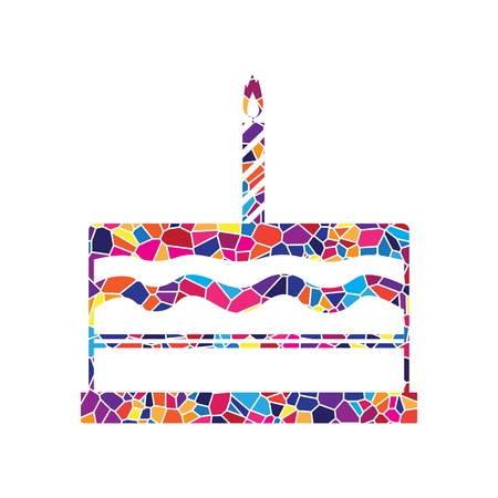 Birthday cake sign. Vector. Stained glass icon on white background. Colorful polygons. Isolated. Illustration