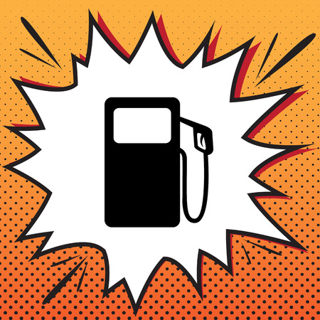 Gas pump sign. Vector. Comics style icon on pop-art background..