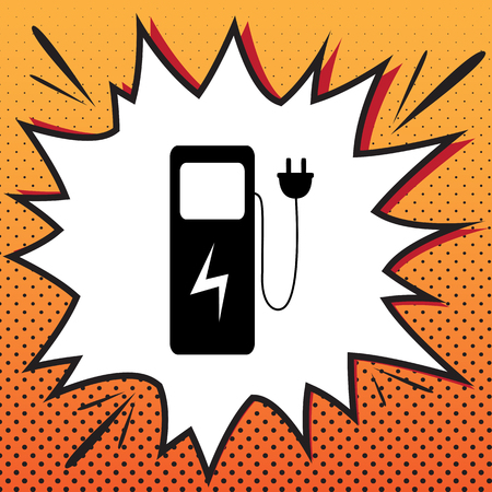 Electric car charging station sign. Vector. Comics style icon on pop-art background.