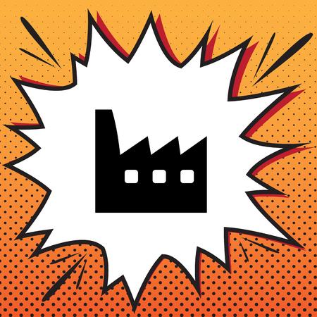 Factory sign illustration. Vector. Comics style icon on pop-art background. Illustration
