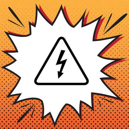 High voltage danger sign. Vector. Comics style icon on pop-art background.