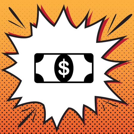 Bank Note dollar sign. Vector. Comics style icon on pop-art background. Illusztráció