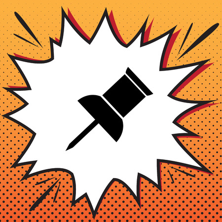 Pin push sign. Vector. Comics style icon on pop-art background.