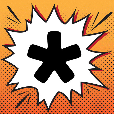 Asterisk star sign. Vector. Comics style icon on pop-art background.