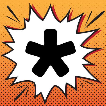 Asterisk star sign. Vector. Comics style icon on pop-art background. Ilustração