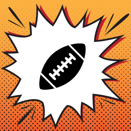 American simple football ball. Vector. Comics style icon on pop-art background. Illustration