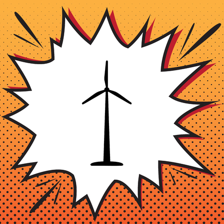 Wind turbine logo or sign. Vector. Comics style icon on pop-art background. Illustration