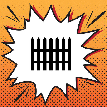 Fence simple sign. Vector. Comics style icon on pop-art background.