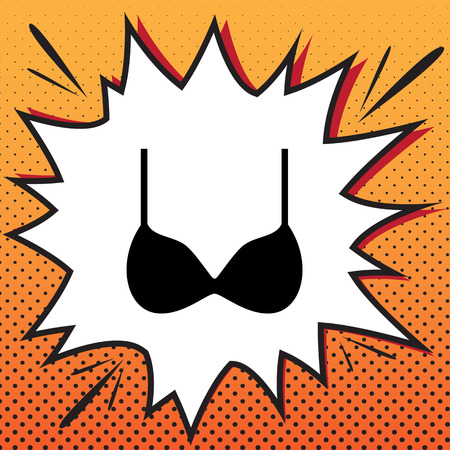 Bra simple sign. Vector. Comics style icon on pop-art background