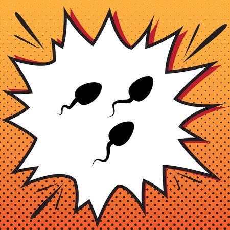 Sperms sign illustration. Vector. Comics style icon on pop-art background. Illustration