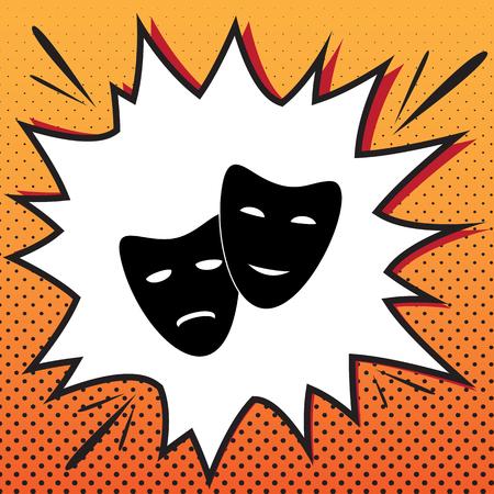 Icono de teatro con máscaras felices y tristes. Vector. Icono de estilo cómic sobre fondo de arte pop.