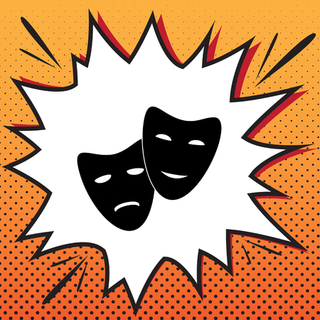 Theater icon with happy and sad masks. Vector. Comics style icon on pop-art background.