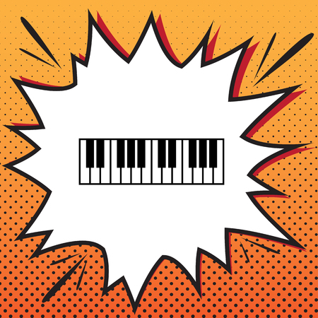 Piano Keyboard sign. Vector. Comics style icon on pop-art background.
