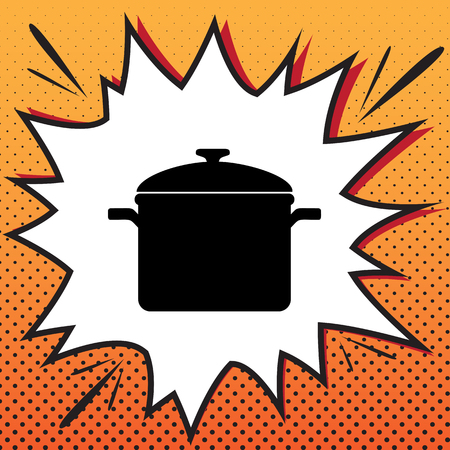 Cooking pan sign. Vector. Comics style icon on pop-art background.