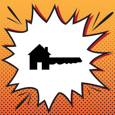 Home Key sign. Vector. Comics style icon on pop-art background. Vektoros illusztráció