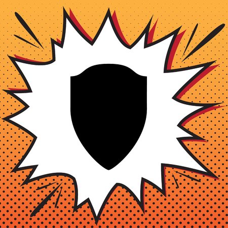 Shield sign illustration. Vector. Comics style icon on pop-art background.
