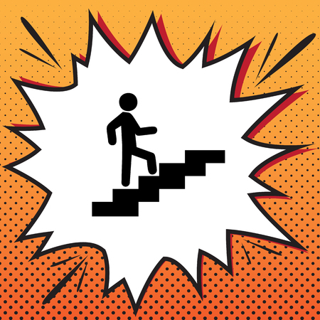 Man on Stairs going up. Vector. Comics style icon on pop-art background. Banque d'images - 105607090