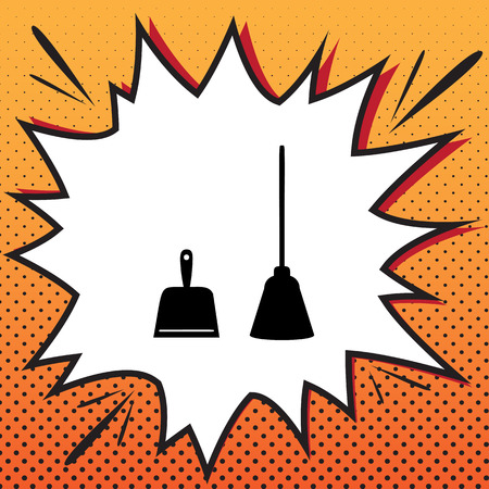 Dustpan sign. Scoop for cleaning garbage housework dustpan equipment. Vector. Comics style icon on pop-art background.