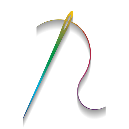 Needle with thread. Sewing needle, needle for sewing. Vector. Co