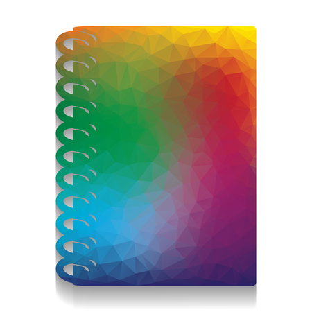 Notebook simple sign. Vector. Colorful icon with bright texture of mosaic with soft shadow on white background. Isolated. Illustration