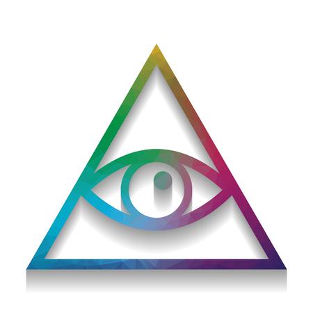 All seeing eye pyramid symbol. Freemason and spiritual. Vector. Illustration
