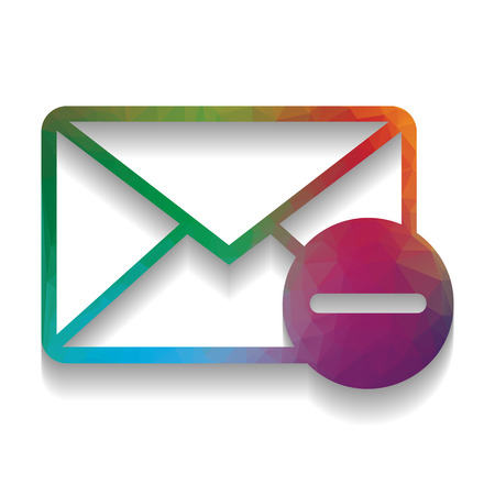 Mail sign illustration with remove mark. Vector. Colorful icon w