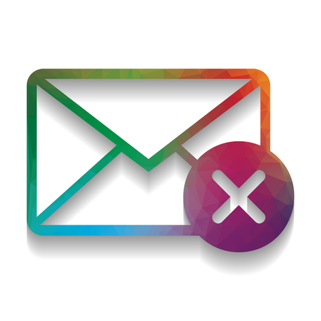 Mail sign illustration with cancel mark. Vector. Colorful icon w Zdjęcie Seryjne - 105040811