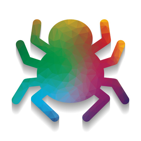 Spider sign illustration. Vector. Colorful icon with bright texture of mosaic with soft shadow on white background. Isolated.