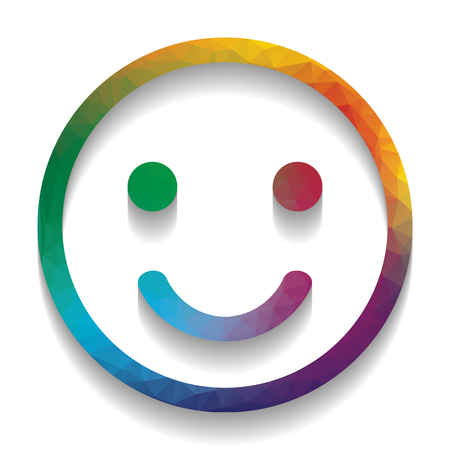 Smile icon. Vector. Colorful icon with bright texture of mosaic with soft shadow on white background. Isolated.