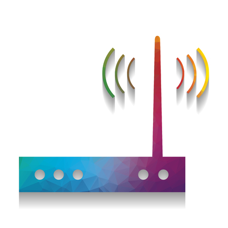 Wifi modem sign. Vector. Colorful icon with bright texture of mo