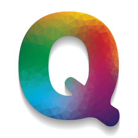 Letter Q sign design template element. Vector. Colorful icon with bright texture of mosaic with soft shadow on white background. Isolated. Illustration